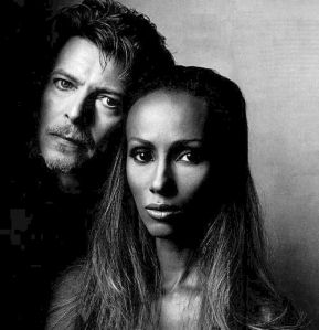 David Bowie and Iman Striking